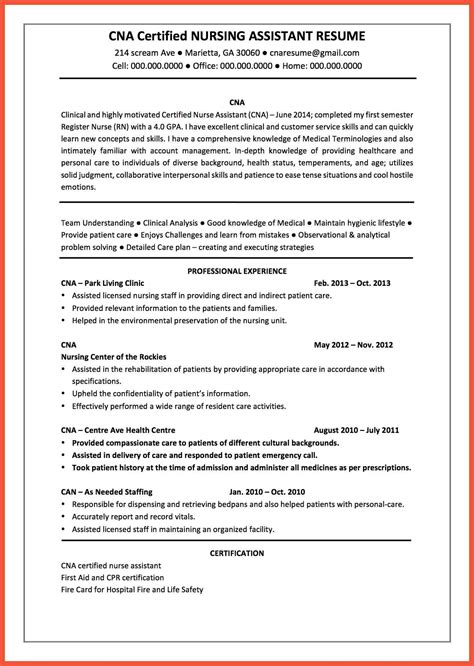 Resume Summary Exle Cna Cna Resume Summary Apa
