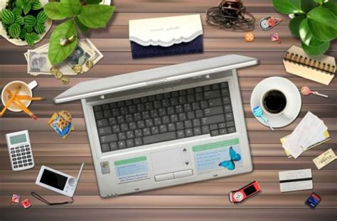 Office Desk Top Cluttered Office Desktop Psd Layered Material Free Psd