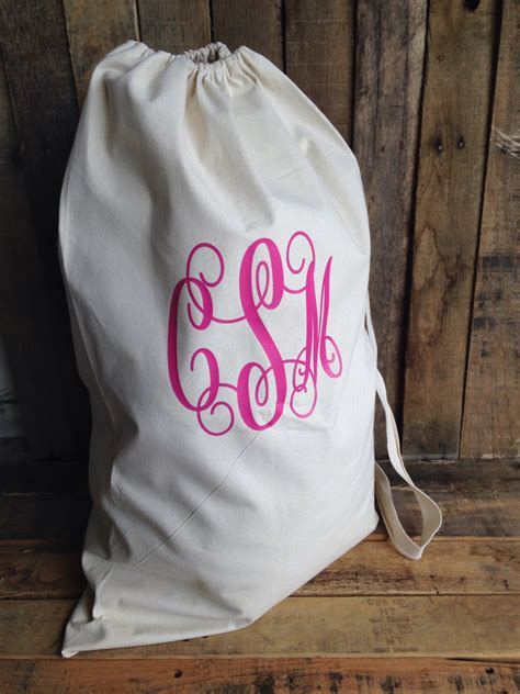 Monogrammed Laundry Bag College Laundry Bag Large Canvas Monogrammed Laundry