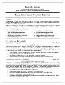 Exle Of A Sales Resume by Sales Resume
