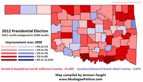 oklahoma voter list information oklahoma presidential results map 2008 vs 2012