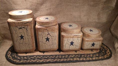 Navy Blue Primitive Decor primitive crackle barn navy blue glass canisters