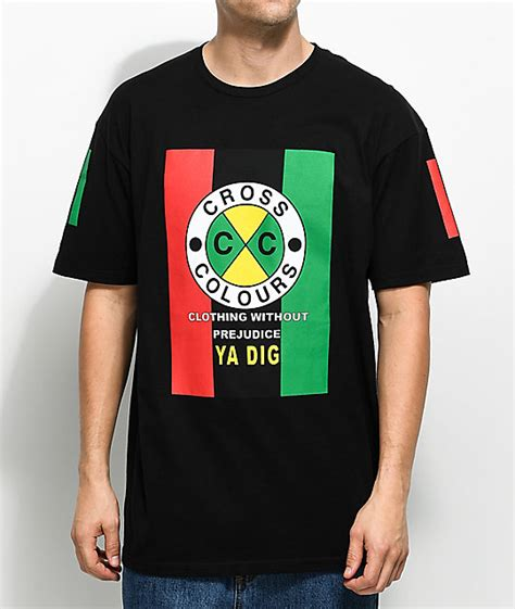 cross color cross colours flag logo black t shirt zumiez cross colours
