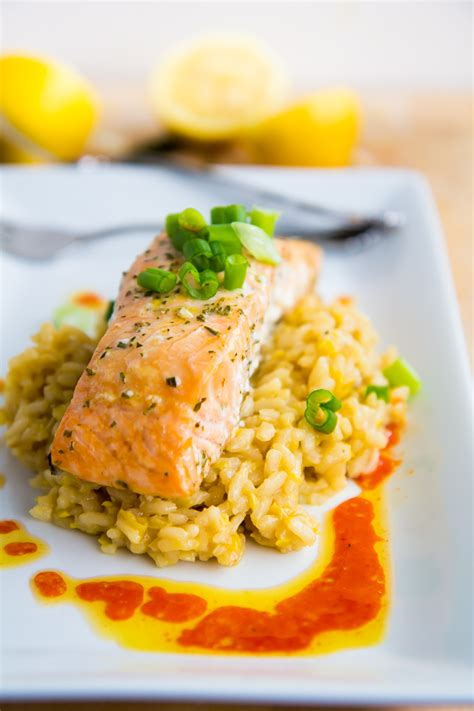 salmon and risotto slow baked salmon with lemon risotto chili oil yeah