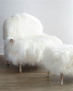 fluffy armchair mongolian fur chair sheepskin and ottoman set