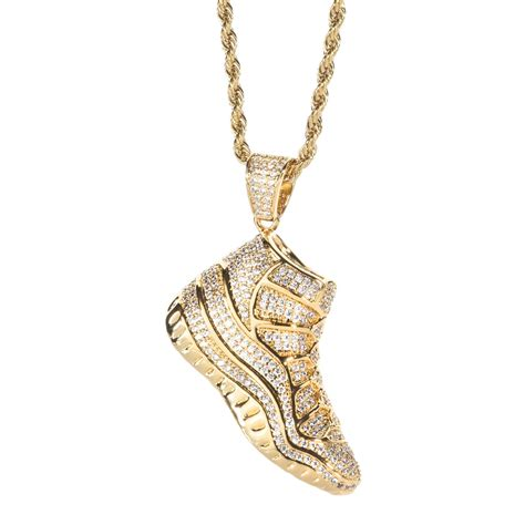 Shoe Necklace by Gold 3d Iced Out Shoe Basketball Sneaker Pendant Spicyice