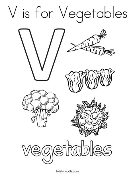 V Is For Coloring Page by V Is For Vegetables Coloring Page Twisty Noodle