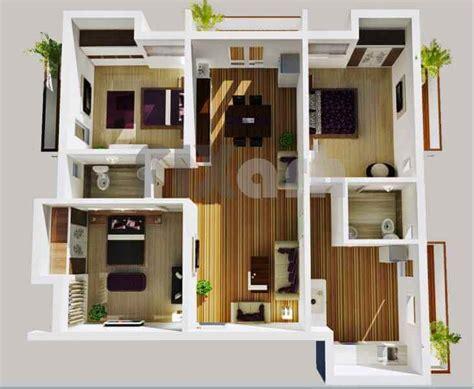 30 denah rumah minimalis 3 kamar tidur 3d tiga dimensi
