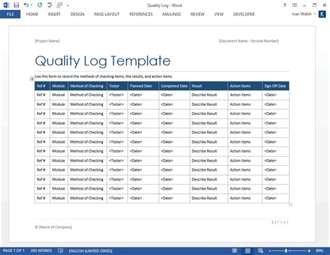 Quality Log Template software testing templates 50 word 27 excel