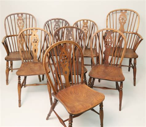 Wheeled Dining Chairs Set Of Eight Elm Wheel Back Dining Chairs Rafael Osona Auctions