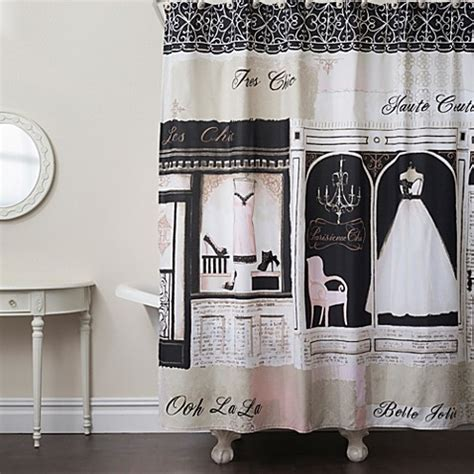 parisian shower curtain parisienne chic shower curtain bed bath beyond
