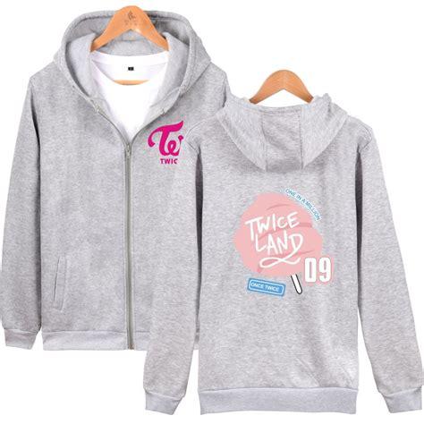 twice zip up hoodie fashion long sleeved pullovers hoodies twice land kawaii