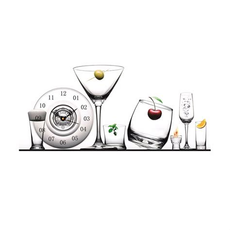 apple home decor accessories pag sticker 3d wall clock decals glass tableware wall