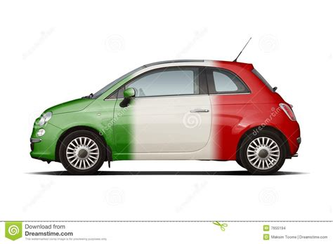 a small compact car was involved in a rollover crash small car in colors of italian flag stock images image
