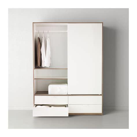 kleiderschrank visthus trysil armoire portes couliss 4tiroirs blanc gris clair