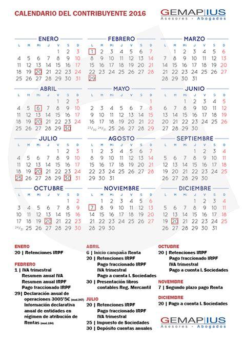 Calendario Fiscal Calendario Fiscal Contribuyente Para 2016