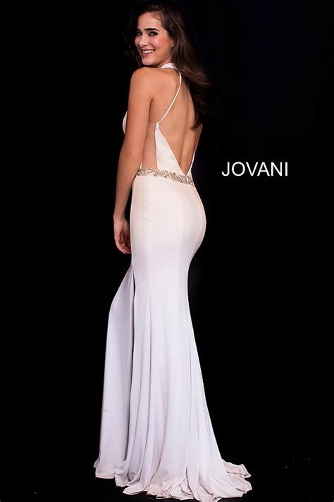 gold white fitted plunging neckline high slit prom dress