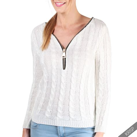 Zip Detail Pullover womens cable knit v neck zip detail warm winter sweater