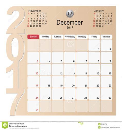 calendar design december calendar planner design december 2017 stock vector image