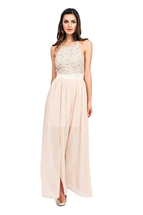 Maxy By floral applique halterneck maxi dress