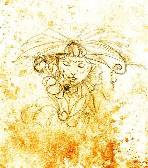 rosa mistica fiore donna mistica con il fiore disegno a matita su carta