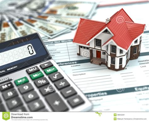 mortgage house mortgage calculator house noney and document stock photo image 38842281