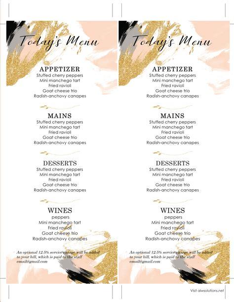 wedding bar menu template design templates menu templates wedding menu food