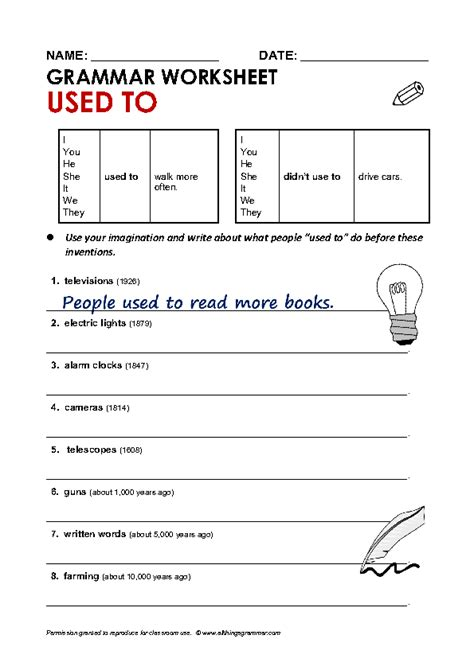 Grammer Worksheets by Grammar Worksheet Used To