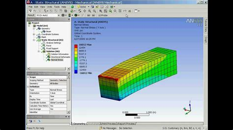 ansys work bench using ansys workbench 12 to analyze the bending stress of a cantilevered beam youtube