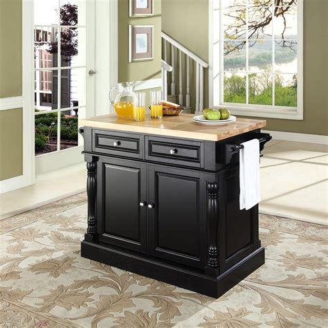 Kitchen Islands Lowes Shop Crosley Furniture Black Craftsman Kitchen Island At Lowes