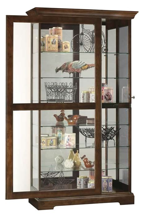 curio with sliding glass door howard miller cherry large curio display sliding