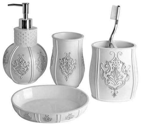 white bathroom accessories sets vintage white 4 piece bath accessory set contemporary