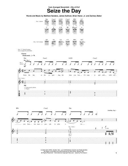 Download Seize The Day Sheet Music By Avenged Sevenfold