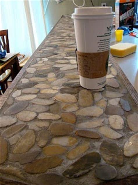 river rock countertop kitchen