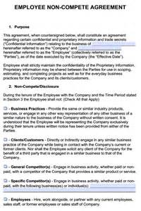 Free Employee Non Compete Agreement Template non competition agreement template employee non compete
