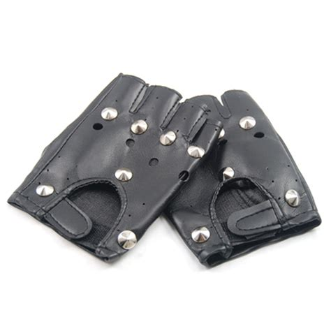 Minogue Rocks The Leather And Fingerless Gloves Look On Stage by Unisex Cool Black Rock Studded Leather Fingerless