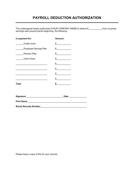 Authorization Letter For Race Kit Collection payroll deduction authorization template amp sample form biztree com