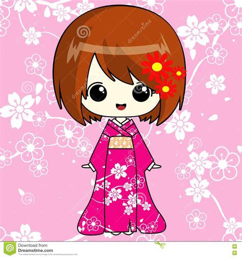 imagenes anime kimono muchacha del animado en kimono rosado stock de ilustraci 243 n