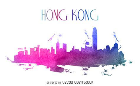 graphics design hong kong hong kong watercolor skyline vector download