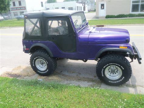 purple jeep cj purple 1975 jeep cj5 low shape newer tires