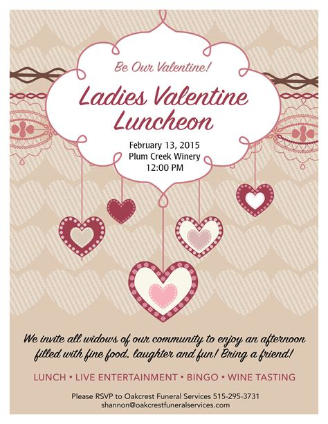 valentines lunch quot luncheon quot event for widows oakcrest