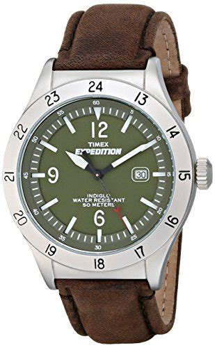 Expedition 6710 White Black Leather Original timex s t49881 quot expedition quot silver tone with brown leather band timex timberland