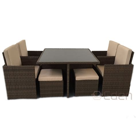 8 Seater 9 Piece Brown Rattan Cube Dining Glass Table 8 Seater Patio Table And Chairs