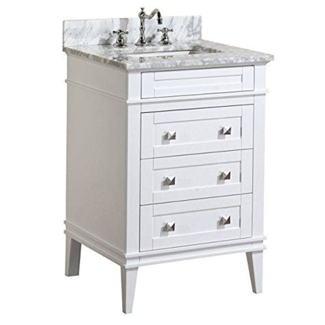 24 Inch Bathroom Vanity With Drawers Eleanor 24 Inch Bathroom Vanity Carrara White Includes A White Cabinet Soft Drawers A