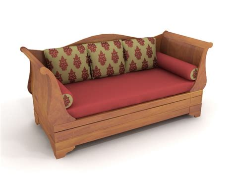 wooden sofa beds wooden sofa bed 3d model 3dsmax files free download