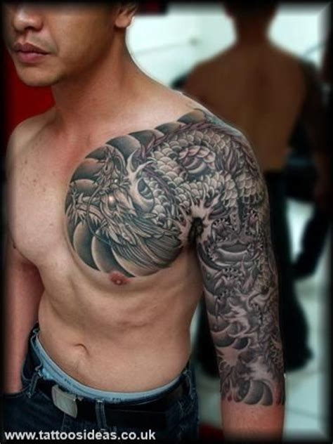 dragon tattoo chest and half sleeve tatouages