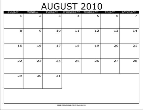 August 2010 Calendar 2010 Free Printable Calendars Free Printable Calendars