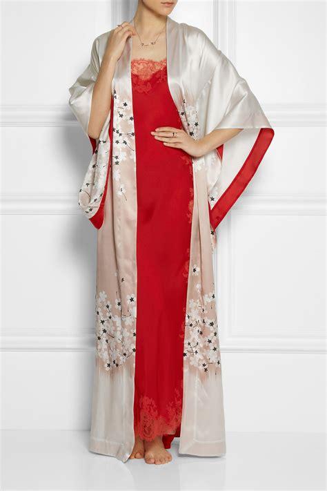 kimono robe silk carine gilson floral print silk satin kimono robe