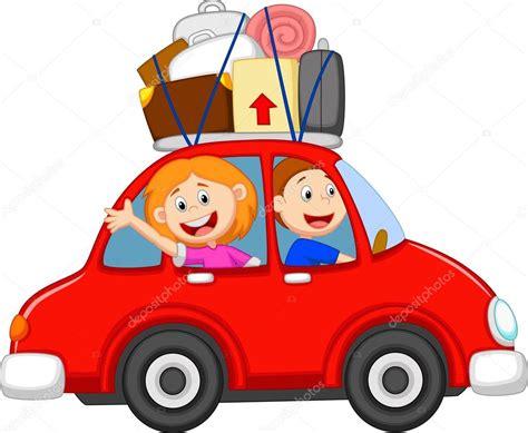 clipart viaggi famiglia in viaggio con la macchina vettoriali stock