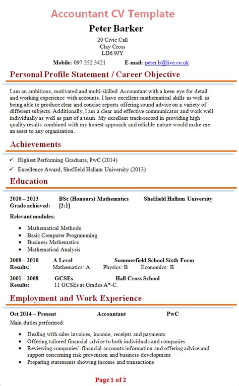 accounting resume template accountant cv template